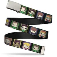 Blank Chrome  Buckle Big Bang Theory Chibi Character Blocks Webbing Web Belt