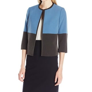 Kasper NEW Blue Gray Women's Size 18 Plus Colorblock Open-Front Jacket