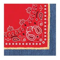 "Club Pack of 192 Bandanarama Premium 3-Ply Disposable Lunch Napkins 6.5"" - Red"