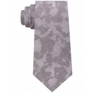 Calvin Klein Silver Gray Chalk Camouflage Men's Neck Tie Silk