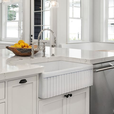 Luxury 33 inch Modern Fireclay Farmhouse Kitchen Sink, Single Bowl, White, FlutedFront, includes Drain & Grid, by Fossil Blu