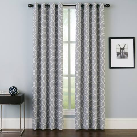 Geometric Trellis Grommet Single Curtain Panel