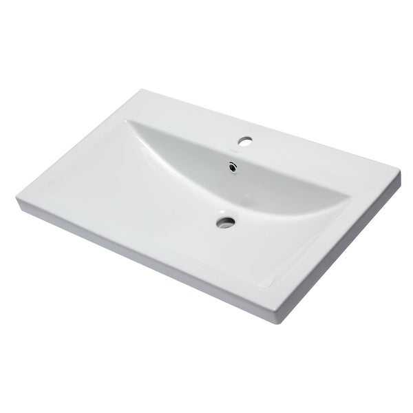 """Eago BH001 31-1/2"""" Drop In Bathroom Sink with Overflow - White"""