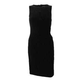 Lauren by Ralph Lauren Women's Sequin-Trim Keyhole Dress - Black