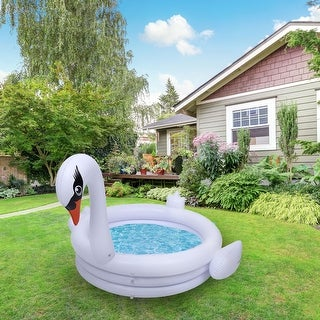 Link to ALEKO Water Inflatable Outdoor Splash Swimming Pool - White Swan Similar Items in Outdoor Play