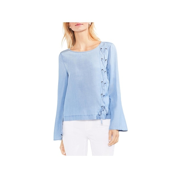 4026b465fafb84 Shop Vince Camuto Womens Pullover Top Chambray Lace-Up - Free Shipping On  Orders Over $45 - Overstock - 26390956