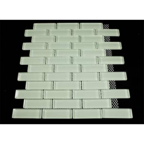 "TileGen. 1"" x 3"" Glass Mosaic Tile in Mint White Wall Tile (10 sheets/9.5sqft.)"