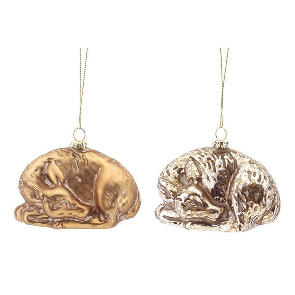 Pack of 12 Gold and Champagne Antique-Style Sleeping Deer Christmas Ornaments 2.5""