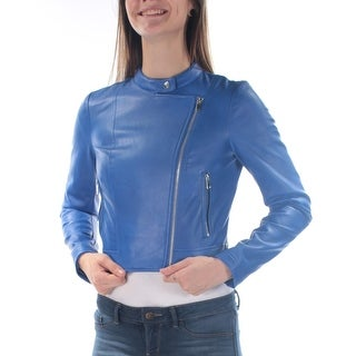 Womens Blue Pocketed Zippered Motorcycle Jacket Size 2XS