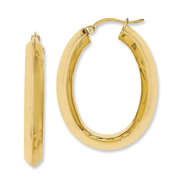 Chisel Stainless Steel Yellow IP-plated Knife Edge Hollow Oval Hoop Earrings