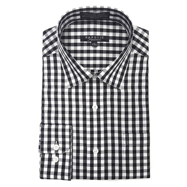 Marquis Men's Gingham Checkered Long Sleeve Modern Fit Shirt, Size - S To 3XL. Opens flyout.