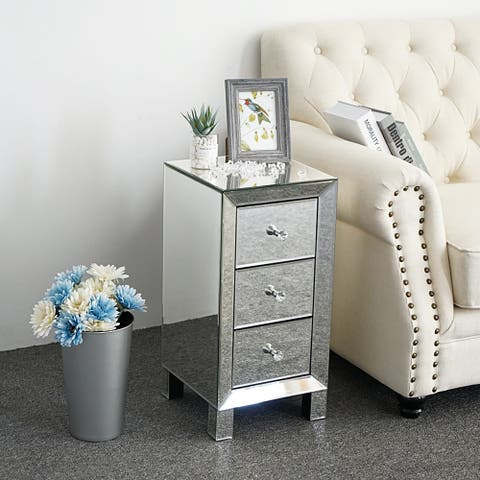 Modern 3-Drawers Mirrored Nightstand Bedside Table