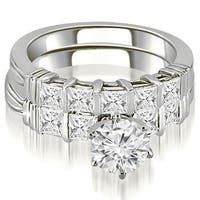 2.55 cttw. 14K White Gold Bar Set Round & Princess Cut Diamond Bridal Set