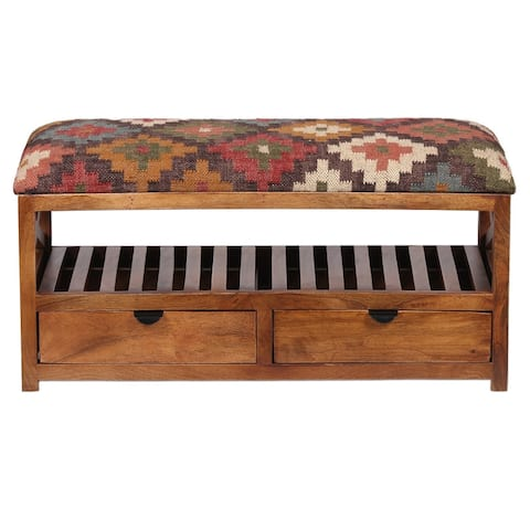 "Handmade Kilim Upholstered Wooden Storage Bench (India) - 33"" W x 14"" L x 16"" H"
