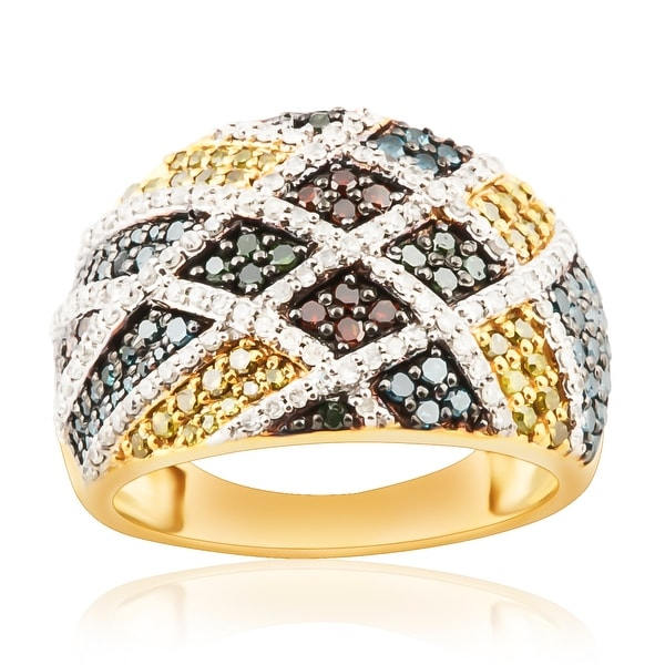 1.03 TCW Multi Color Diamond & White Diamond Designer Ring