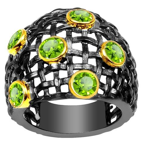 Peridot Brass Round Fashion Ring by Orchid Jewelry