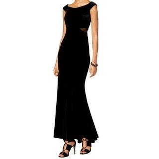 Xscape NEW Black Illusion Mesh Women's Size 8 Velvet Ball Gown