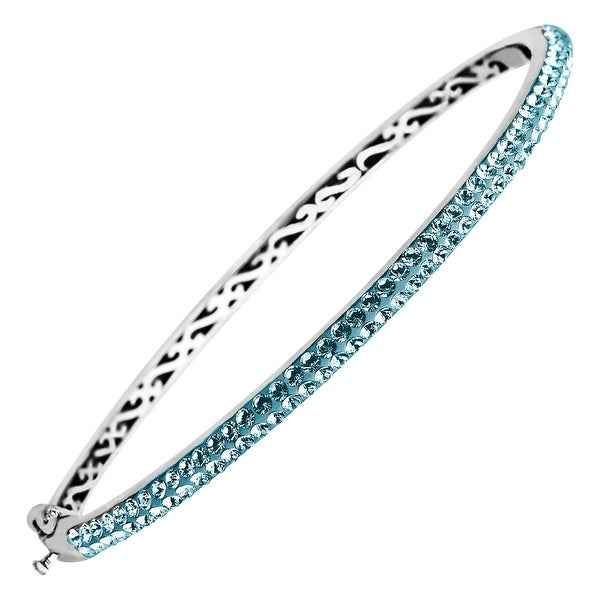 Crystaluxe Bangle Bracelet with Teal Swarovski Crystals in Sterling Silver