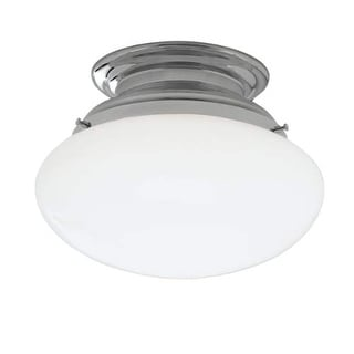 """Norwell Lighting 5370 Clayton Single Light 12"""" Wide Semi-Flush Ceiling Fixture with White Glass Shade"""