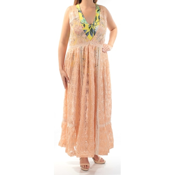 ec152b40340 Shop FREE PEOPLE Womens Orange Sequined With Bodysuit Sleeveless V Neck Maxi  Shift Dress Size  L - Free Shipping Today - Overstock - 23455680