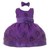 Baby Girls Purple Floral Pattern Accent Occasion Flower Girl Dress 3-24M