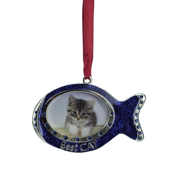"3"" Regal Shiny Silver-Plated Blue ""Best Cat"" Fish Picture Ornament with European Crystals"