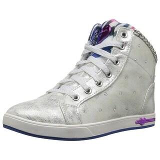 Skechers Kids Girls' Shoutouts-Chill-Ups Sneaker,Silver/Multi,