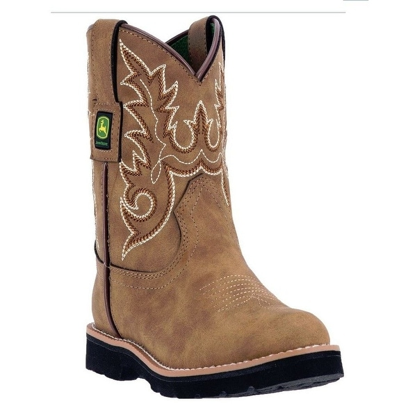 John Deere Western Boots Boys Kids Round Toe Steel Shank Brown