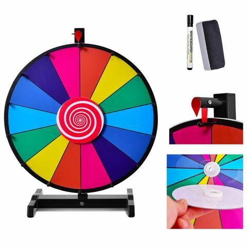 Costway 24'' Tabletop Editable Dry Erase Color Prize Wheel 14 Slot