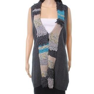 Nic+Zoe NEW Gray Beige Women's Size Large L Vest Fringe Knit Sweater