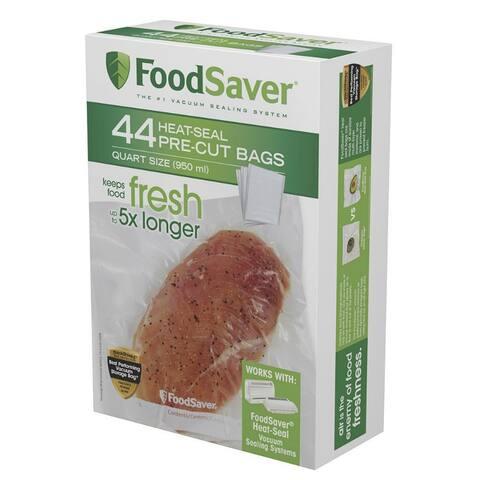 FoodSaver FSFSBF0226-P00 Heat-Seal Pre-Cut Bags, Quart, 44-Count