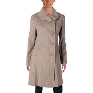 Ellen Tracy Womens Pea Coat Wool Blend Peter Pan Collar