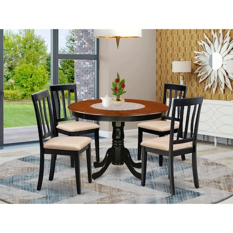 East West Furniture 5 Pc set with a Dining Table and 4 Dinette Chairs (Finish Option)
