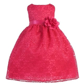 Baby Girls Fuchsia Floral Lace T-Length Flower Girl Dress 6-24M
