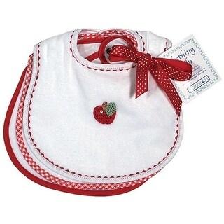 Raindrops Unisex Baby Primary Teething Bib Set, White/Red - One size