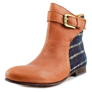 KiBoots Buckle    Round Toe Leather  Ankle Boot