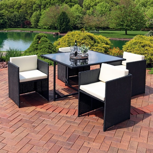 Miliani 5-Piece Outdoor Dining Patio Furniture Set w/ Black Wicker/Gray Cushions