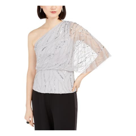 ADRIANNA PAPELL Silver Sleeveless Top 12P