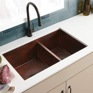 "Native Trails CPK75 Cocina Duet 33"" Double Basin 16 Gauge Hammered Copper Kitche"