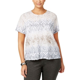 Alfred Dunner Womens Plus Casual Top Printed Jacquard