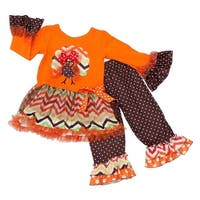 Little Girls Red Multi Color Chevron Thanksgiving Turkey 2 Pc Pant Outfit 4/5