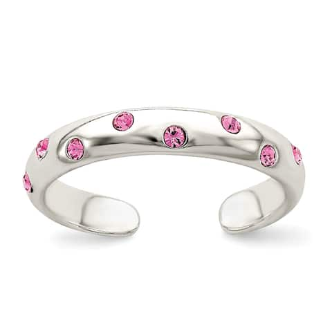 Sterling Silver Pink Cubic Zirconia Toe Ring By Versil