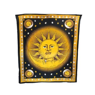 Yellow/Black Sun and Moon Cotton Tapestry/Bedspread
