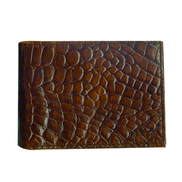 Roper Western Wallet Mens Leather Pass Case Croco OS Brown