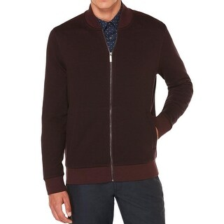Perry Ellis NEW Red Mens Size Medium M Herringbone Full Zip Sweater