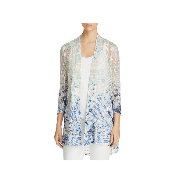 Shop Nic Zoe Womens Cardigan Sweater Knit Printed Free Shipping
