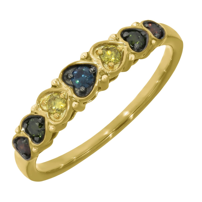 Yellow Green /& Cognac Multi Color Diamond Designer Ring Prism Jewel 0.25Ct Blue
