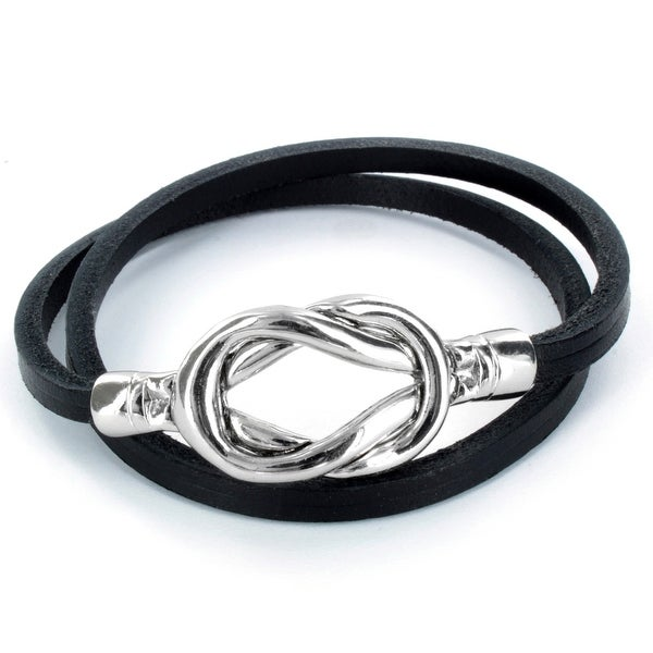 Steel Knot Double Wrap Leather Bracelet (Black) (4 mm) - 8 in