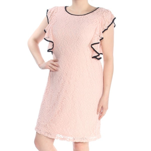 LOVE SQUARED Womens Pink Ruffled Lace Short Sleeve Boat Neck Above The Knee Sheath Party Dress Plus Size: 1X