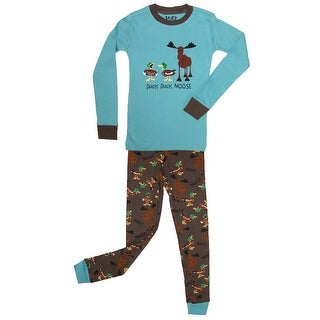 Lazy One Boys' Duck Duck Moose Pajama Set - Blue